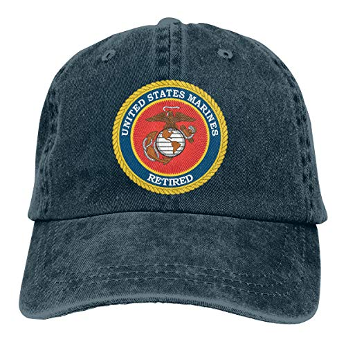Endool Marine Corps Retired Mens Cotton Adjustable Washed Twill Baseball Cap Hat Navy
