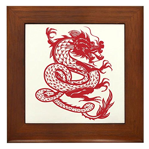 Framed Tile Chinese Dancing Dragon