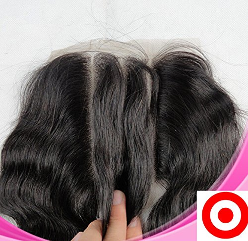 """Best-Selling Bleached Knots 8"""" 3 Way Part Lace Front Closure 4""""4"""" Cambodian Virgin Human Hair Body Wave Natural Colour (trademark:DaJun)"""