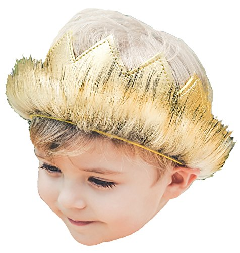 Wild Things Max Costumes (Wild Gold Max Crown Pleather Fur Play Boys Girls Dress Up Party Cake Smash Things)