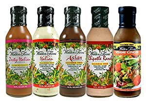Walden Farms Salad Dressing - Zesty Italian-Creamy Italian-Asian-Chipotle Ranch-Sesame Ginger - Calorie Free Fat Free Gluten Free Sugar Free - Variety Pack 5x12oz