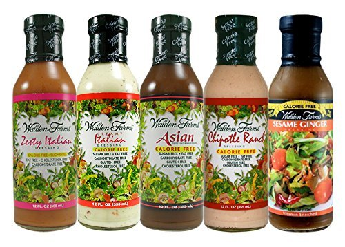 Walden Farms Salad Dressing - Zesty Italian-Creamy Italian-Asian-Chipotle Ranch-Sesame Ginger Calorie Free Fat Free Gluten Free Sugar Free - Variety Pack -