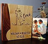 Personalized Wood Cover Photo Album, Custom Engraved Wedding Album, Style 1013 (Maple & Walnut Cover)