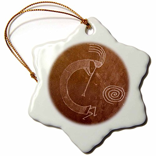 Native American Tree Ornaments (3dRose orn_92520_1 Pictographs of The Pueblo Indians, Native American-Us32 Awy0010-Angel Wynn-Snowflake Ornament, 3-Inch, Porcelain)