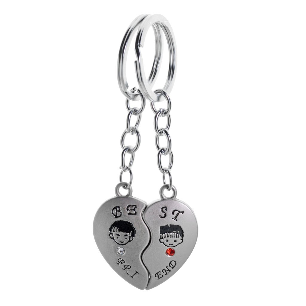 9f7294c4a6e1 Three Shades I Love U Heart Metal Magnet Couple Ring Keychain/Keyring  -Silver: Amazon.in: Bags, Wallets & Luggage
