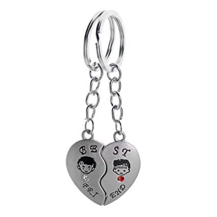 55450d8c4c0 Three Shades I Love U Heart Metal Magnet Couple Ring Keychain/Keyring  -Silver