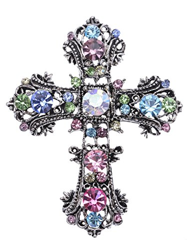 Alilang Antique Silvery Tone Multi Rhinestones Colorful Holy Cross Brooch Pin -