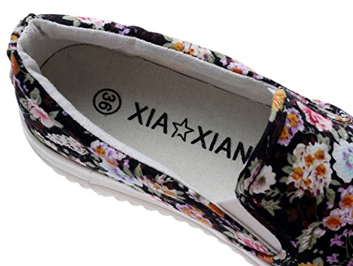 XIAXIAN Floral Pattern Canvas Korean Style Breathable Shoes(8 B(M) US, Blackflower)