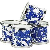 Enamelware - Colbalt Blue Swirl Pattern - Set of 4 Napkin Rings