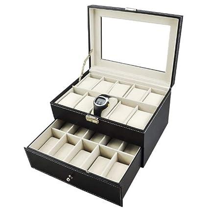 Sunbobo Caja de Reloj Grande de Cuero Negro para Hombre con Tapa de Cristal Organizador de