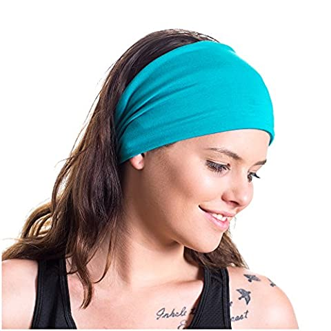 Yoga Headband - Red Dust Active - Non Slip - Ideal for Sports, Stretching, Pilates, Light Workouts, Exercising and Travel - Made from Blue Lightweight Bamboo Jersey - Stretchy, Stylish &
