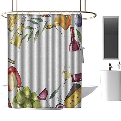- TimBeve Modern Luxurious Shower Curtain Wine,Round Frame with Hand Painted Food Objects Watercolor Wine Cheese Fruits Collection, Multicolor,Print Polyester Fabric Bathroom Decor Sets 36