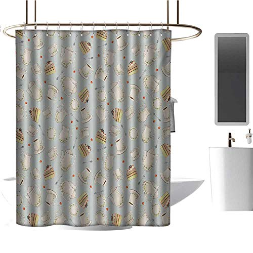 "Quality Polyester Shower Curtain Tea Party,Coffee Pot Teapot Spoons Plates and Creamy Slices of Cake with Cherries,Bluegrey Red Green,Curtain Anti Mould for Bathroom & Toilet 72""x72"""