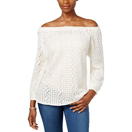 Solid Pullover Sweater - Style & Co. Womens Petites Solid Off-The-Shoulder Pullover Sweater Ivory PM