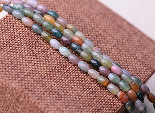 Fire Agate Barrel Beads - 6*4mm Natural India Plants Agate Beads Barrel Shape 15.4 Inch Strand for Jewelry Making (GA110)