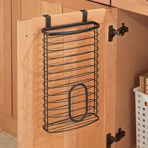 mDesign Over the Cabinet Kitchen Storage Holder for Plastic and Garbage Bags - Bronze