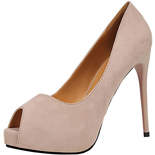 Peep Pumps Wedding High BIGTREE By Suede Beige Pumps Toe Platform Heels Dress Women qq1Cxrgw64