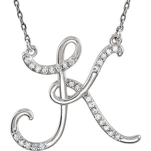 Sterling Silver Letter K 1/8 CTW Diamond Initial 16 Necklace