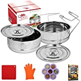 Sweet Serenity Instant Pot Accessories | Deluxe Stackable Pressure Cooker Steamer Insert Pans | Fits 6 & 8 Qt Instant Pot Cookers | For Meat, Vegetables, Cheesecake, Seafood & More | Silicone Kit