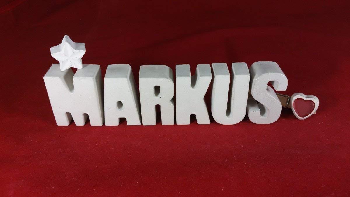 Beton, Steinguss Buchstaben 3D Deko Namen MARKUS mit Stern und Herzklammer als Geschenk verpackt! Ein ausgefallenes Geschenk zur Geburt, Taufe, Geburtstag, Namenstag oder auch zu Weihnachten!
