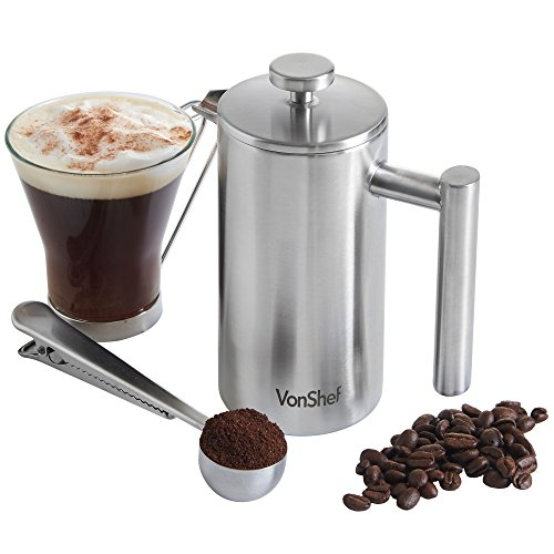 VonShef Double-Wall Keep Warm Satin Brushed Stainless Steel - 3 Cup French Press Coffee Maker