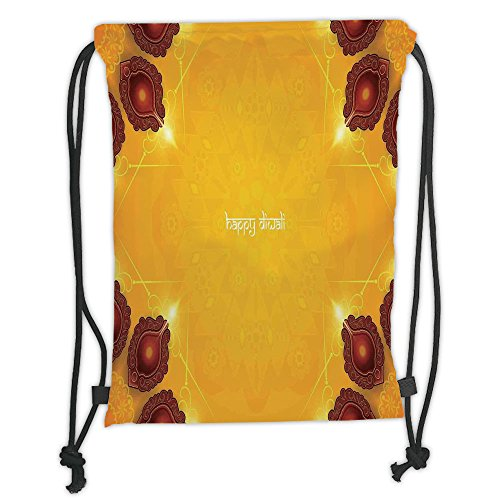 Custom Printed Drawstring Sack Backpacks Bags,Diwali Decor,Paisley Decor Backdrop Wooden Candle Light like Ornamental Frames Artwork Print,Yellow Soft Satin,5 Liter Capacity,Adjustable String Closure, by iPrint
