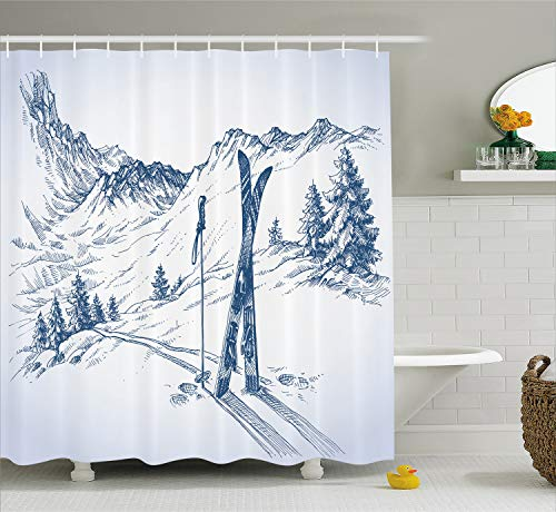 Ambesonne Winter Decorations Shower Curtain, Sketchy Graphic of a Downhill with Ski Elements in Snow Relax Calm View, Fabric Bathroom Decor Set with Hooks, 70 Inches, White - Snow Shower