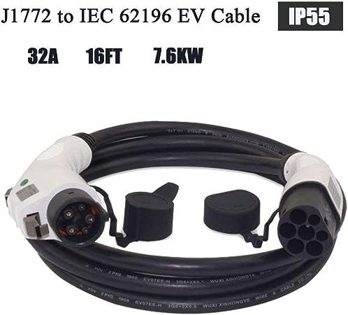 Ete Etmate Ev Ladeanschluss 32 Ampere Typ 1 Bis Typ 2 Ev Ladekabel 5m Für Ladestation Für Elektrofahrzeuge Auto
