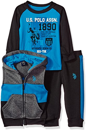 U.S. Polo Assn. Baby Boys T-Shirt, Vest and Sweatpant Set