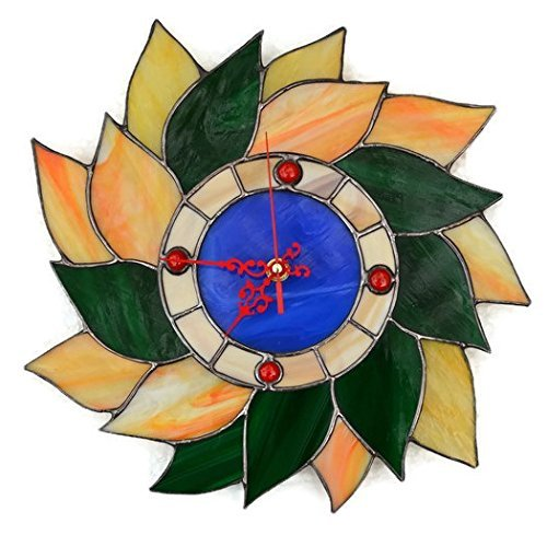 Stained Glass Wreath - Fall Leaves Wreath Wall Clock Made of Stained Glass
