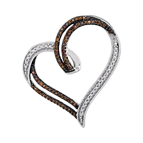 Sonia Jewels 925 Sterling Silver Round Chocolate Brown Diamond Heart Pendant (1/5 Cttw)
