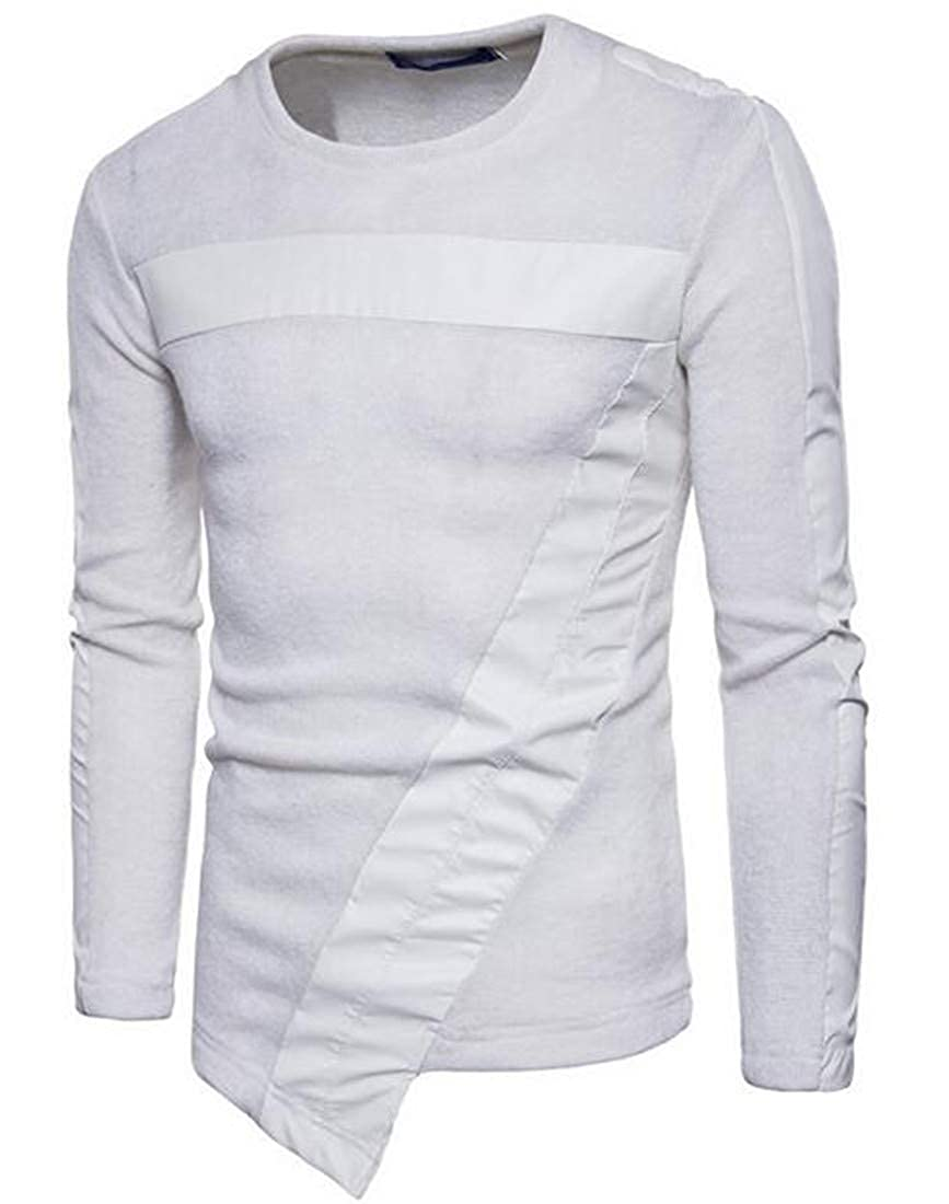 BYWX Men Patchwork Asymmetrical Ribbed Kintted Long Sleeve Pullover Sweater