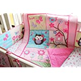 Pink Owl Bird 7pcs crib set Baby Bedding Set Crib Bedding Set Girl Boy Nursery Crib Bumper bedding
