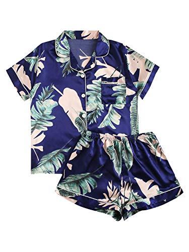 Floerns Women's Notch Collar Palm Leaf Print Sleepwear Two Piece Pajama Set Bule XL]()
