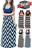 Mommy Jennie Women's Summer Chevron Striped Print Dress Tank Long Maxi Dresses for Women (Blue, M)