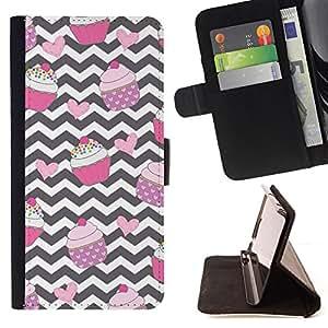 BullDog Case - FOR/Samsung Galaxy S6 EDGE / - / chevron cupcake black white pink sweet /- Monedero de cuero de la PU Llevar cubierta de la caja con el ID Credit Card Slots Flip funda de cuer