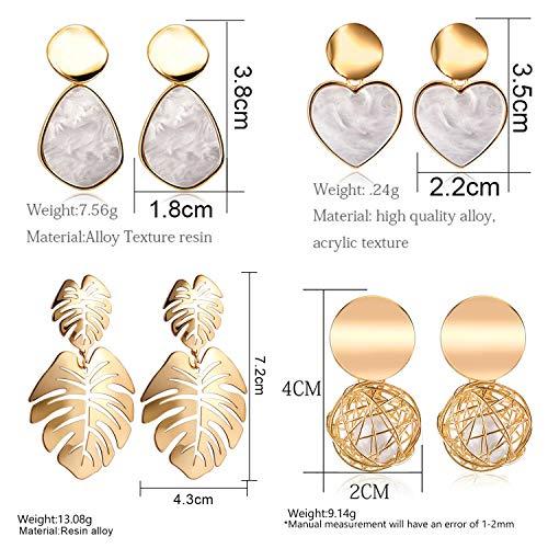 10 Pairs Fashion Tassel Earrings for Women Girls Bohemian Acrylic Hoop Stud Drop Dangle Earring Leaf Earrings for Birthday/Party/Friendship Gift…