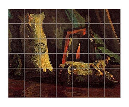 A Basket Of Crocuses (Van Gogh) Horizontal Tile Mural Satin Finish 36