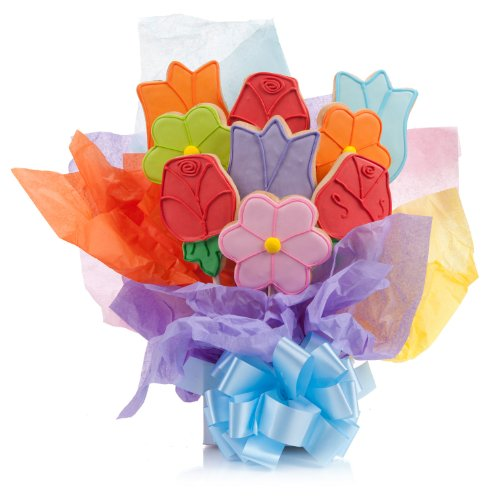 Lovely Flowers Cookie Bouquet- 9 Pc Bouquet
