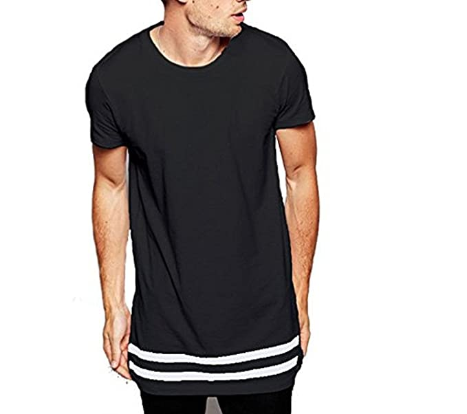 f596f6db LIWEIKE Men t Shirt Extended Longline Hipster Tshirt with Striped Hem  (Small, Black)