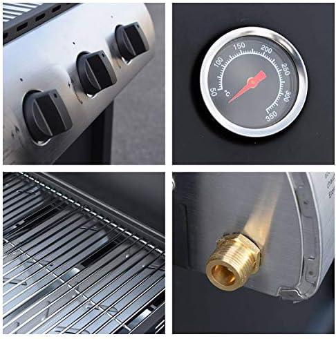BENEFFITO LOFOTEN - Barbecue à gaz pour extérieur 3 brûleurs de 8,4 KW sur Roues avec Couvercle, 2 grilles en Acier chromé, 2 étagères latérales, 1 Plateau Bas et thermomètre - Noir