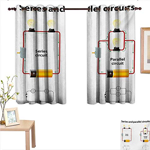 BlountDecor Educational Customized Curtains Series and Parallel Circuits Voltage Electric Science Equipment Print 63
