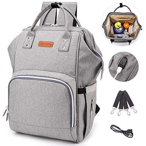 Diaper Bag Backpack with USB Charging Port, Multi-Function Waterproof Care Travel Backpack, Large Capacity, Light, Stylish, Durable, Suitable for Carrying Travel (Gray)