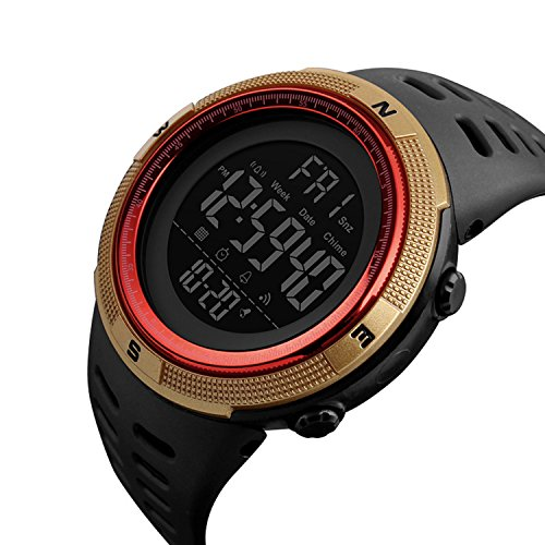 Mens Outdoor Sports Watch With Countdown Double Time Alarm Chrono Digital Wristwatches 50M Waterproof (Gold and Red) Alarm Chrono Watch Instructions