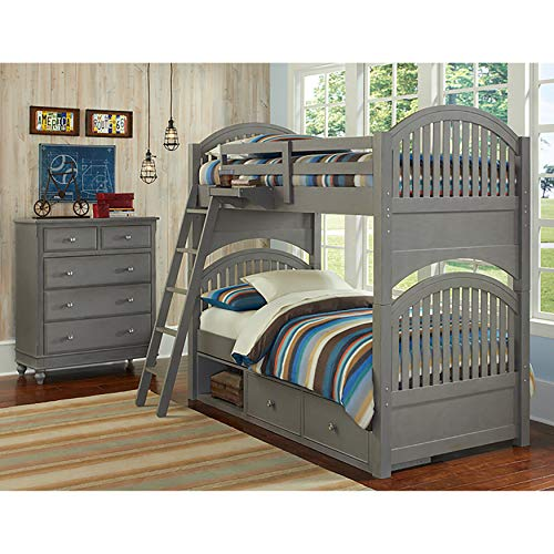 (Hillsdale Kids and Teen Lake House Adrain Twin Over Twin Bunk with Storage-Stone)