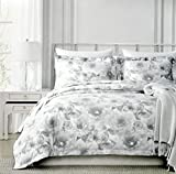 Nicole Miller Grey Floral Branches Petals Duvet Quilt Cover 3pc Set King 100% Cotton Leaves Silhouette Floral Garden Branches Subtle White Gray 300TC