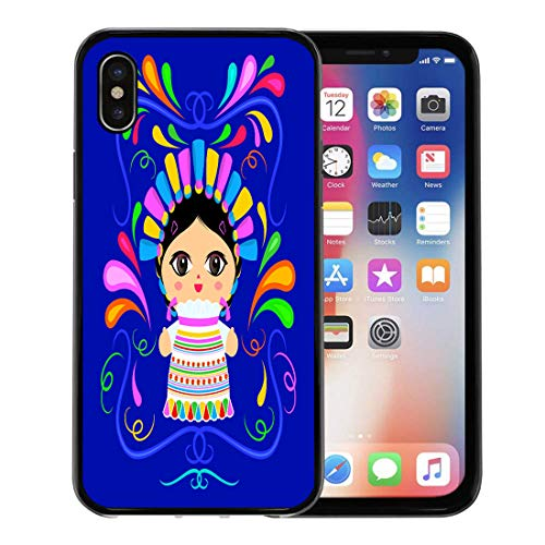 Emvency Phone Case for Apple iPhone Xs Case/iPhone X Case,Beautiful Colorful America Mexican Doll Ornaments Avatar Braid Cartoon Soft Rubber Border Decorative, Black ()