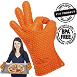 Silicone BBQ Oven Gloves - Eco & Life Ice Power Best Heat Resistant Silicone Gloves For Cooking Barbecue Grilling Boiling - Excellent Oven Mitts For Outdoor and Kitchen Use