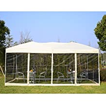 Outsunny 10'x20' Pop Up Party Tent Gazebo Wedding Canopy with 6 Removable Mesh Sidewalls and Carry Bag (Beige)