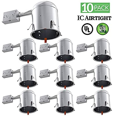 10 PACK - Remodel LED Can Air Tight IC Housing LED Recessed Lighting- UL Listed and Title 24 Certified
